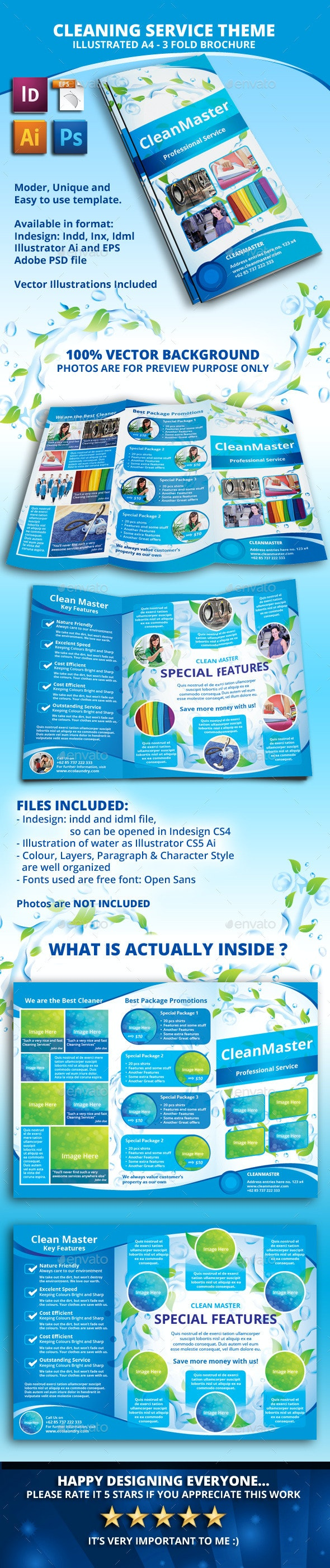 Eco - Cleaning Service A4 Tri fold Brochure - Informational Brochures