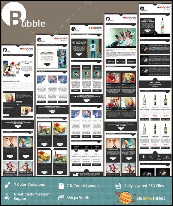 Bubble - Modern Email PSD Template  - E-newsletters Web Elements
