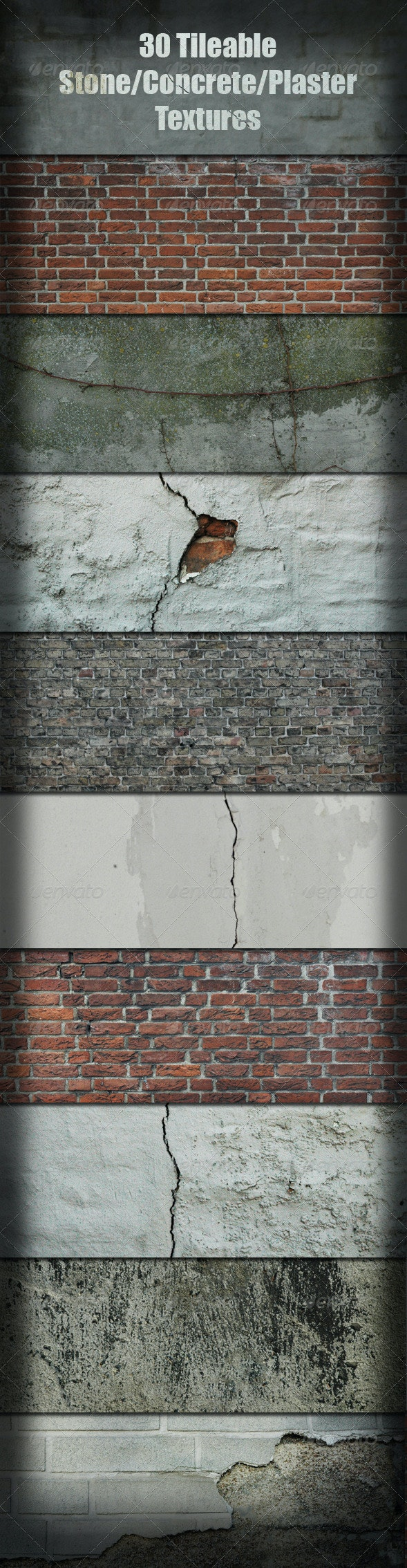 30 Tileable Stone/Concrete/Plaster Textures  - Industrial / Grunge Textures