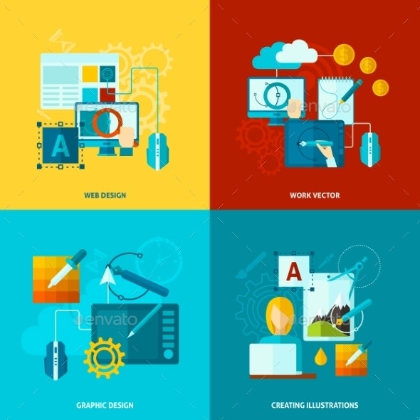 Graphic Design Icons Flat - Technology Conceptual
