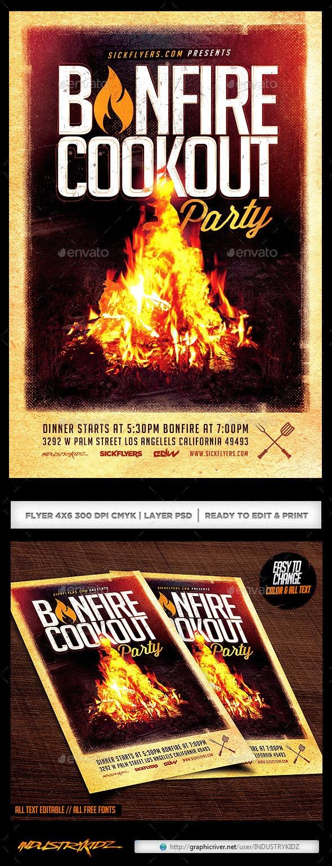Bonfire Cookout Party Flyer - Events Flyers