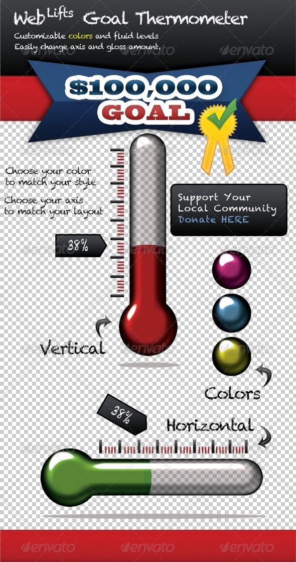 WebLifts Goal Thermometer - Miscellaneous Web Elements