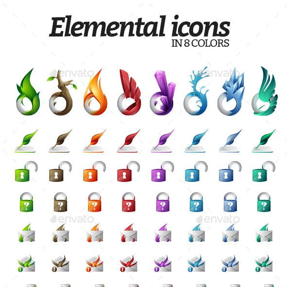 40 Vector Elemental Icons - 8 Colors