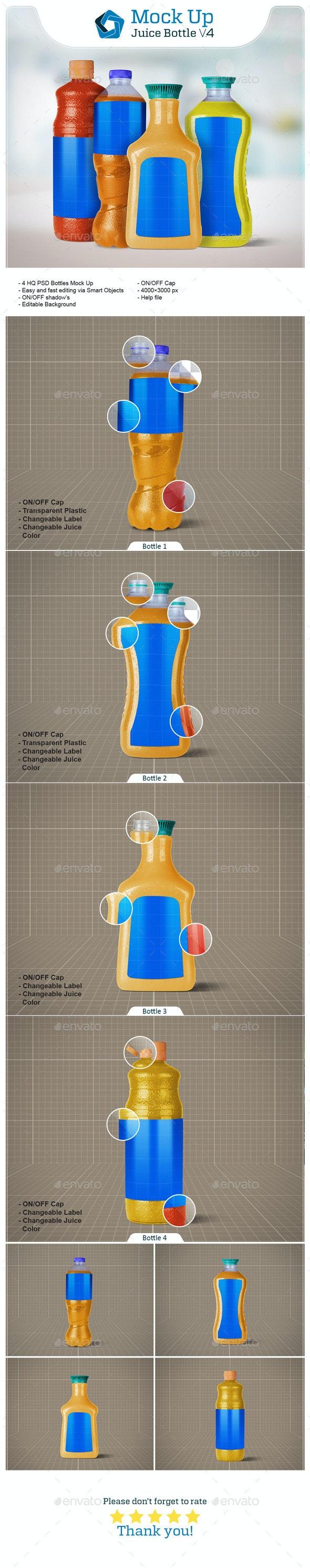 4 Juice Bottles - Food and Drink Packaging
