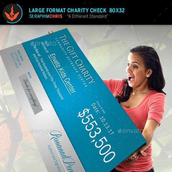 The Gift Large Format Charity Check Template
