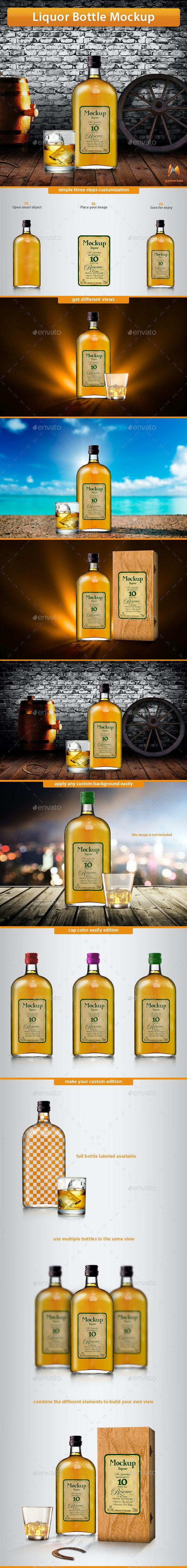Liquor Bottle Mockup - Product Mock-Ups Graphics
