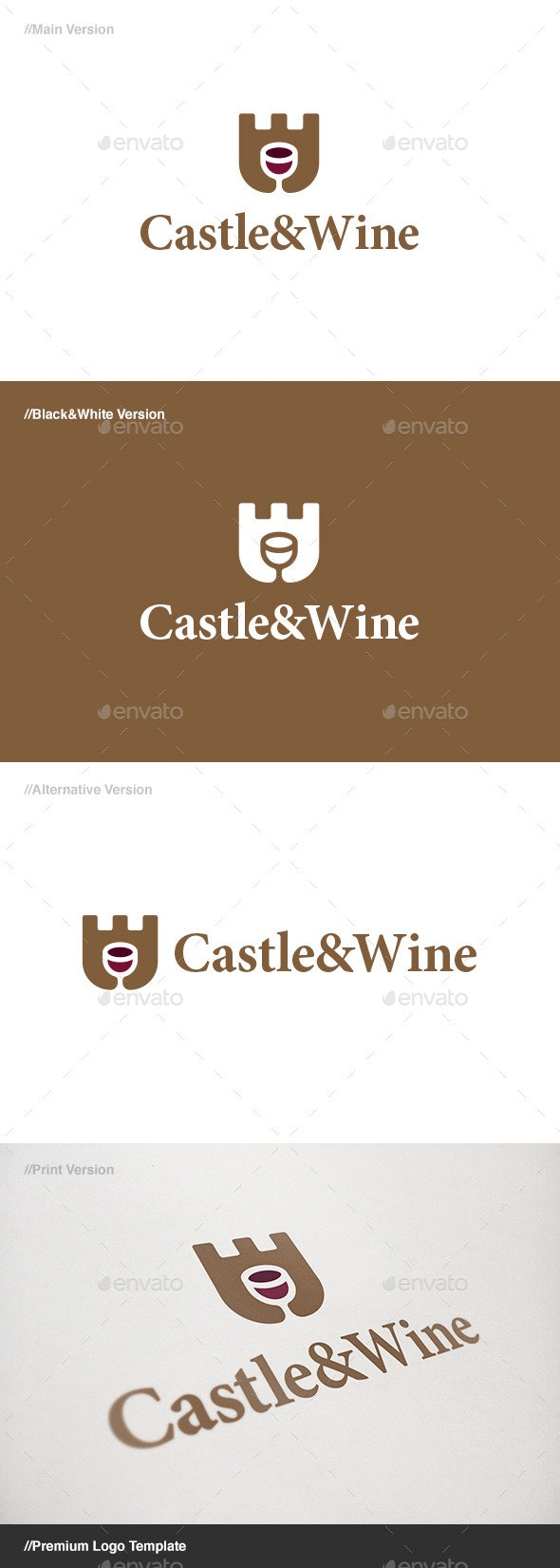 Castle & Wine Logo - Food Logo Templates