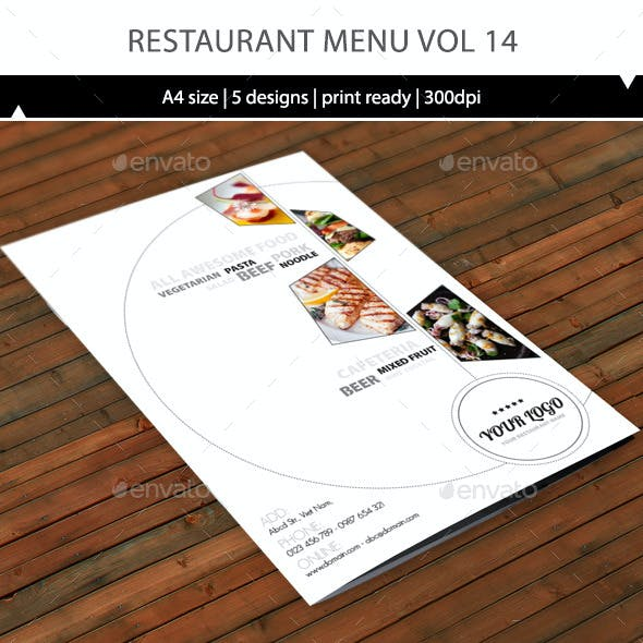 Restaurant Menu A4 Vol13