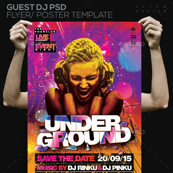Underground Party PSD Template Flyer/Poster