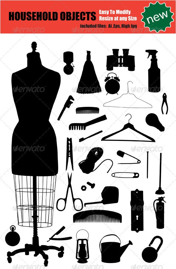 Vector House Objects Silhouette Set - Man-made Objects Objects