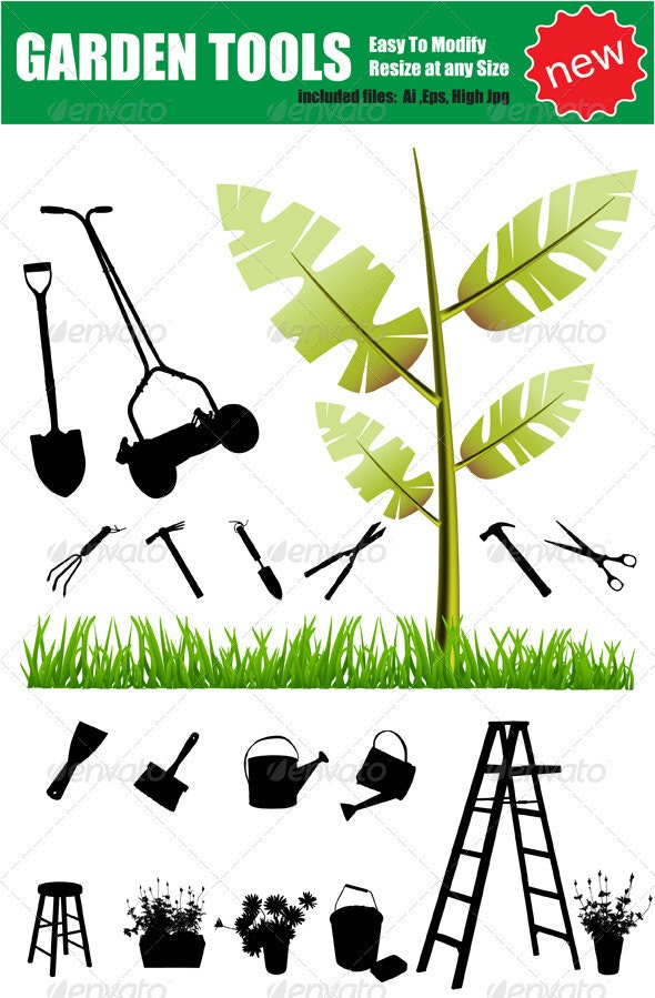 Vector Garden Objects Silhouette Set - Man-made Objects Objects