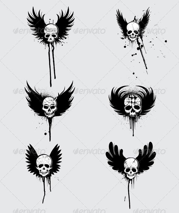 Grunge Skulls Designs - Decorative Symbols Decorative