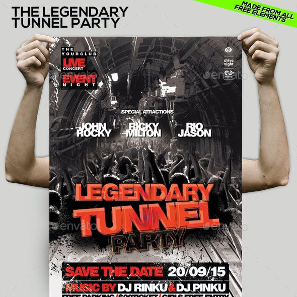 The Legendary Tunnel Party PSD Flyer/Poster