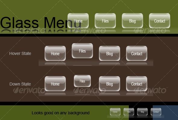 Glass Menu - Navigation Bars Web Elements