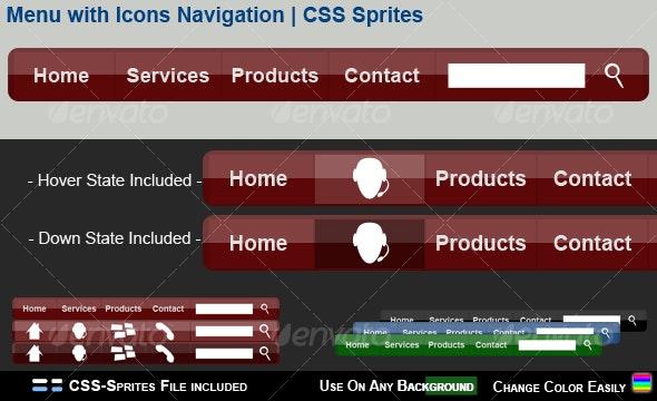 Menu with Icons Navigation   CSS Sprites - Navigation Bars Web Elements