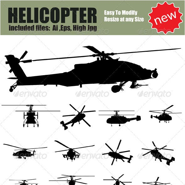 Vector Helicopter Silhouette Set