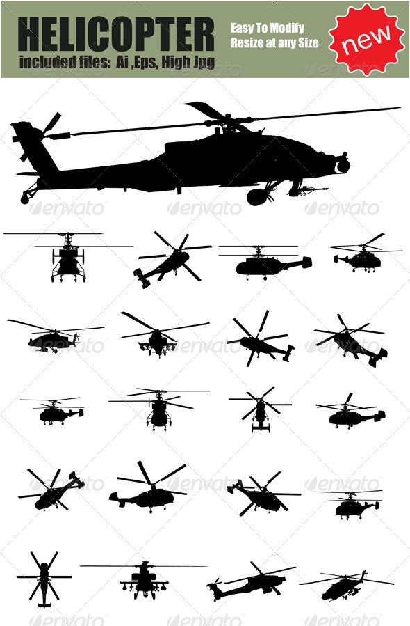 Vector Helicopter Silhouette Set - Miscellaneous Vectors