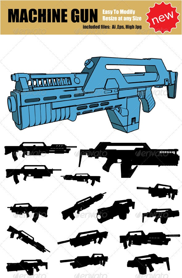 Vector Machine Gun Silhouette Set