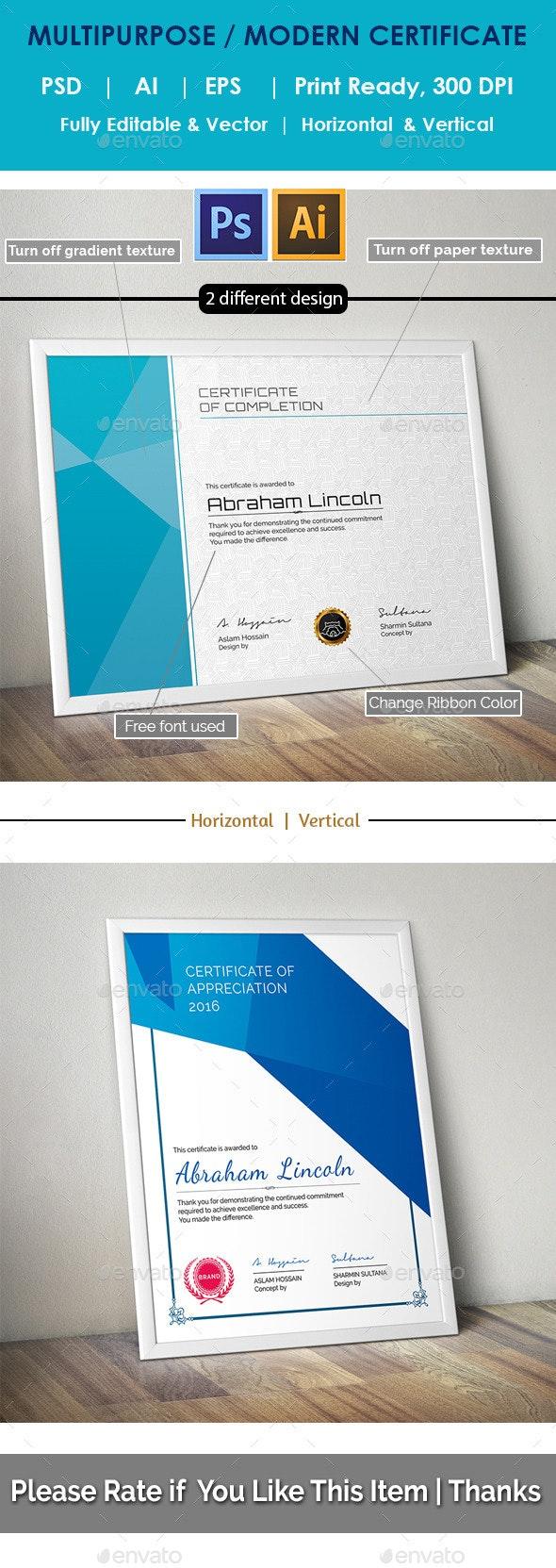 Modern Multipurpose Certificate GD019 - Certificates Stationery