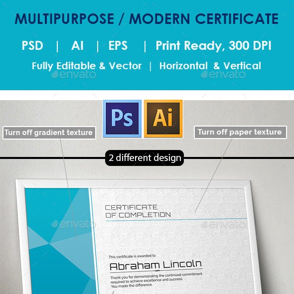 Modern Multipurpose Certificate GD019