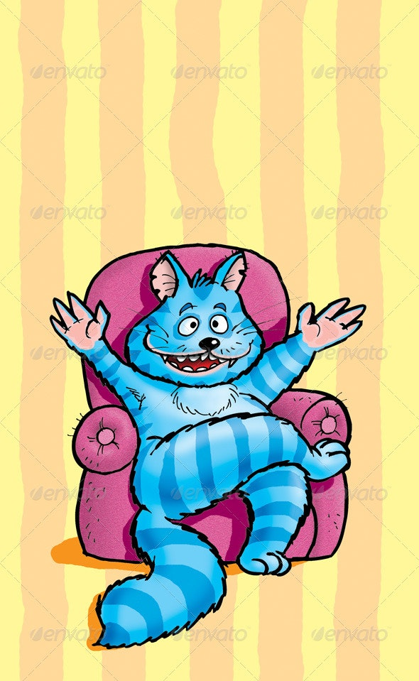 Cat in the Chair - Animals Illustrations