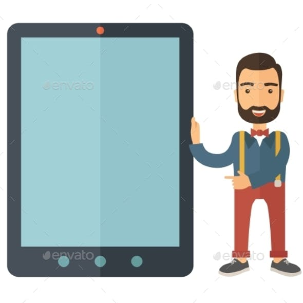 Man with Big Screen Tablet