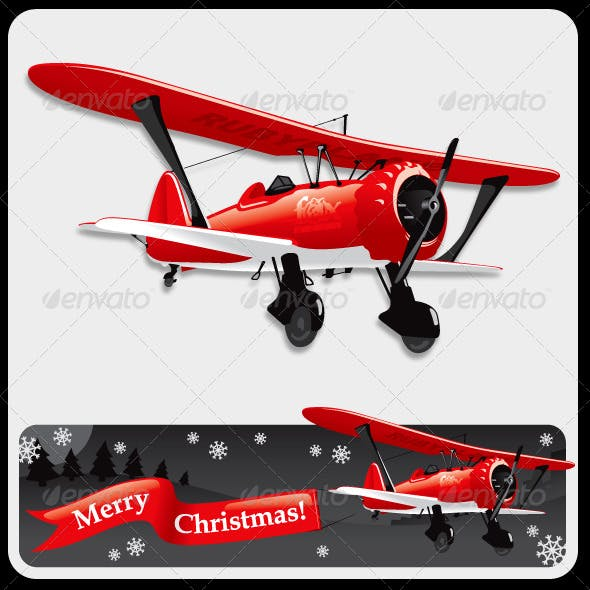Vector Biplane with Christmas Banner