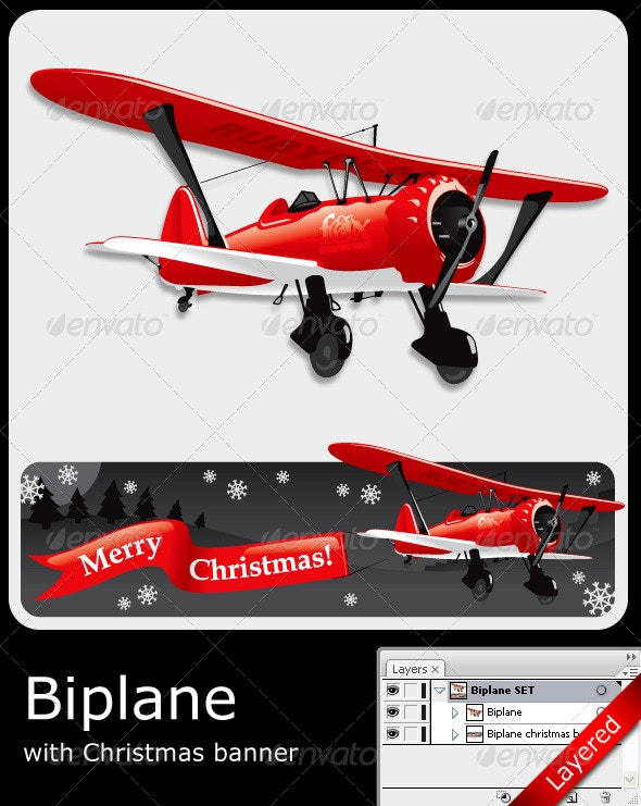 Vector Biplane with Christmas Banner - Christmas Seasons/Holidays