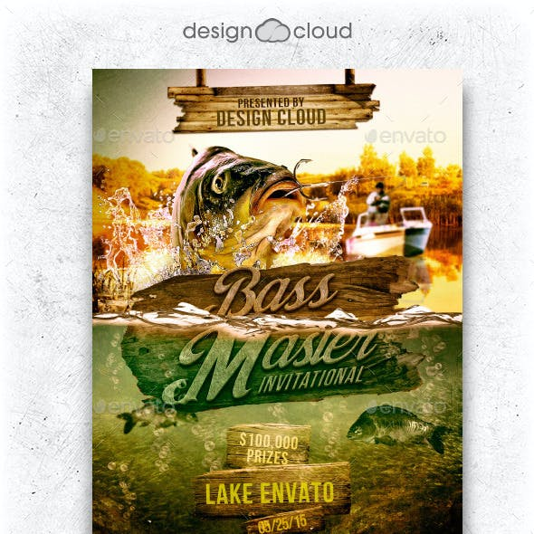 Bass Masters Fishing Tournament Flyer Template