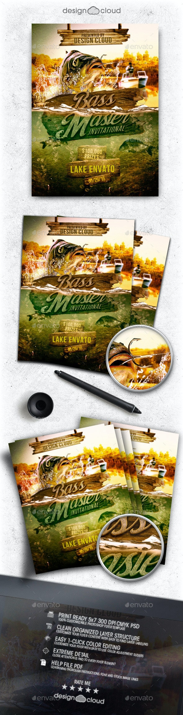 Bass Masters Fishing Tournament Flyer Template - Sports Events