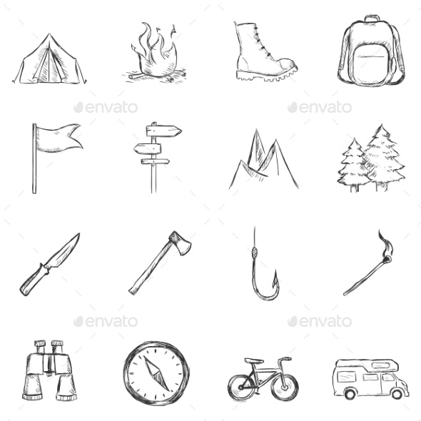 Set of Sketch Hiking and Camping Icons - Travel Conceptual