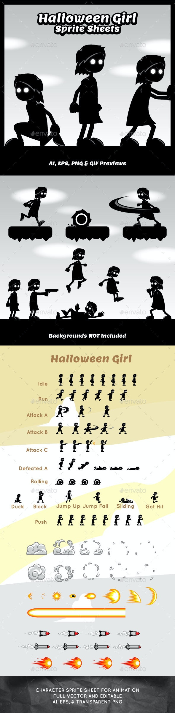 Halloween Girl Game Character Sprite Sheets - Sprites Game Assets
