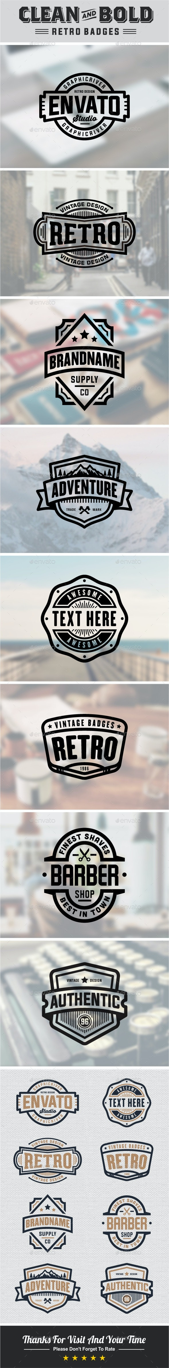 Clean And Bold Retro Badges - Badges & Stickers Web Elements