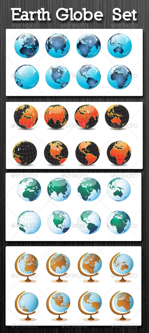 Earth Globe Set - Objects Vectors