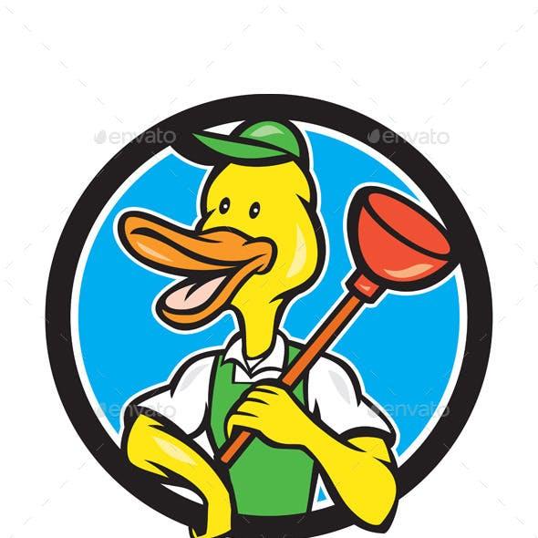 Duck Plumber Holding Plunger Circle Cartoon