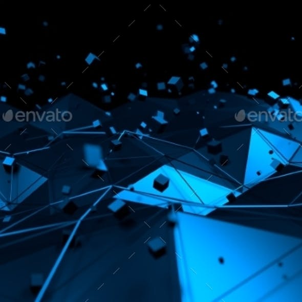 Abstract 3D Rendering of Blue Surface with Chaotic