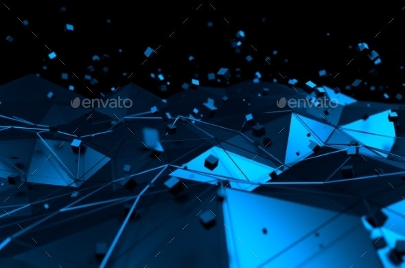Abstract 3D Rendering of Blue Surface with Chaotic - 3D Backgrounds