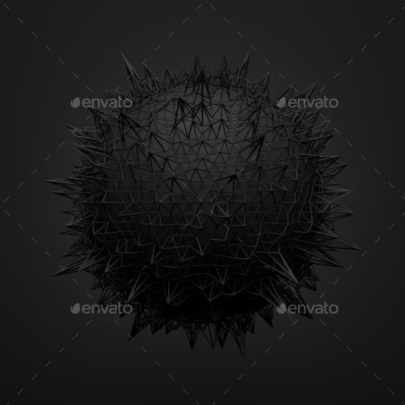 Abstract 3D Rendering of Black Sphere with Chaotic