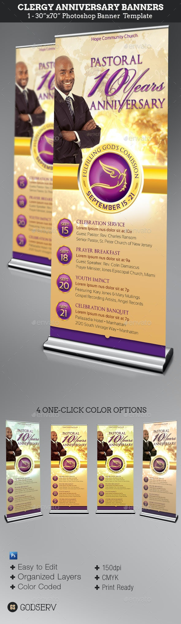 Clergy Anniversary Banner Template - Signage Print Templates