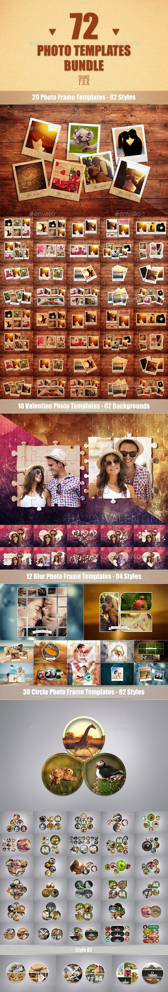 72 Photo Templates Bundle - Miscellaneous Photo Templates