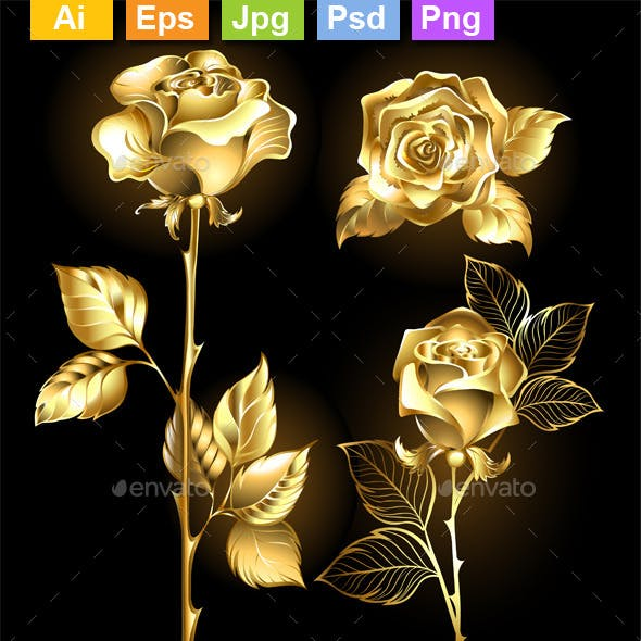 Set of Golden Roses