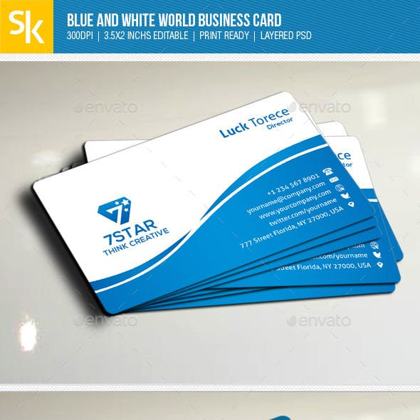 Blue And White World Business Card