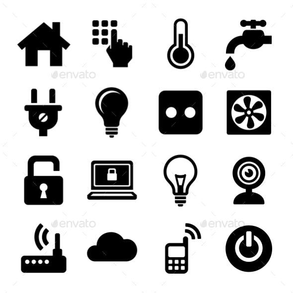 Smart Home Management Icons Set. Vector
