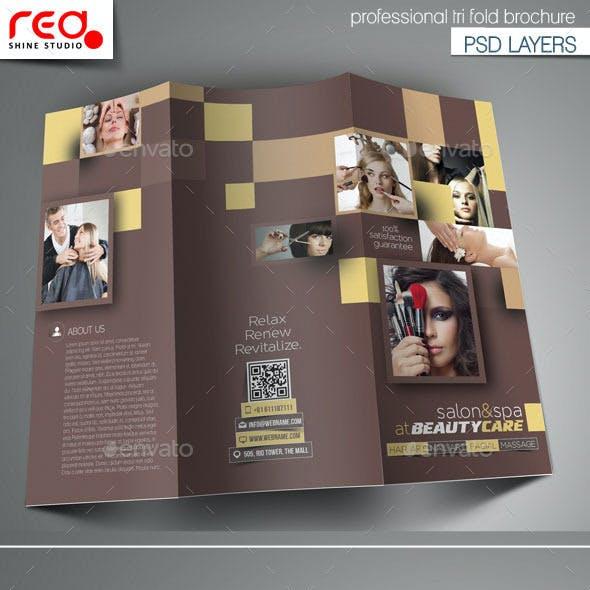 Hair & Beauty Salon Tri-Fold Brochure Template