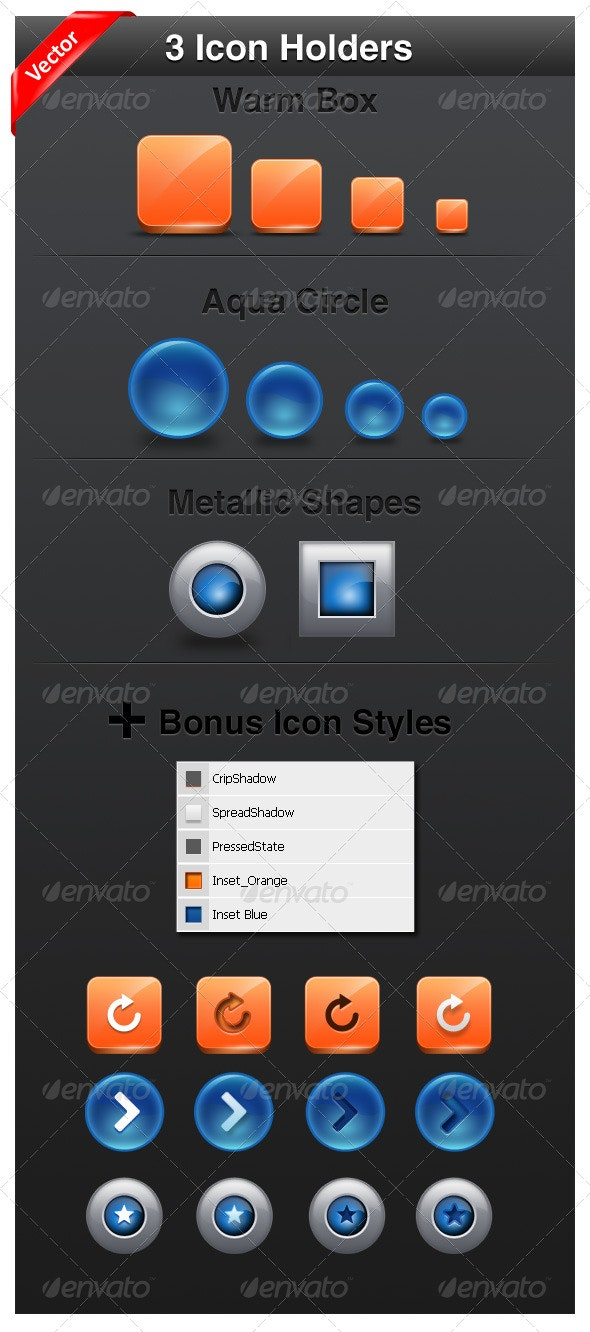 3 Icon Holders / Buttons  - Web Elements