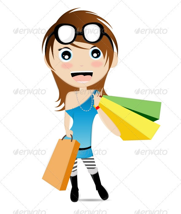 Cute Little Shopping Mascot - People Characters