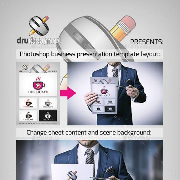 Businessman Holding Sheet Presentation Template