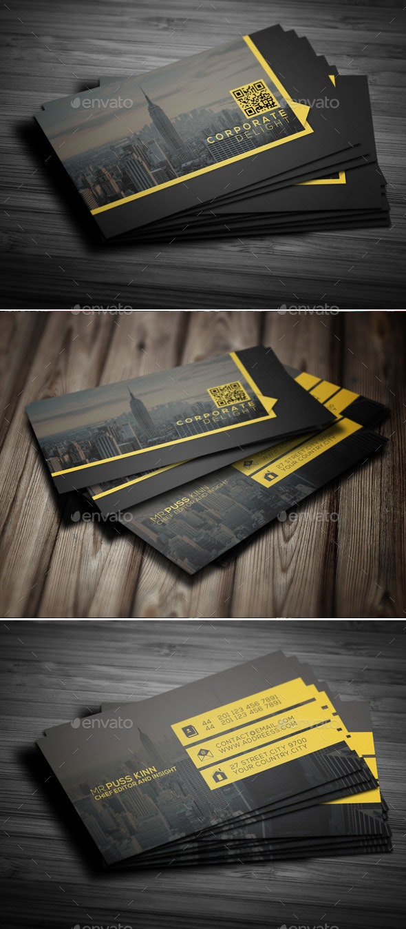 Flat Corporate Delight Business Card - Corporate Business Cards