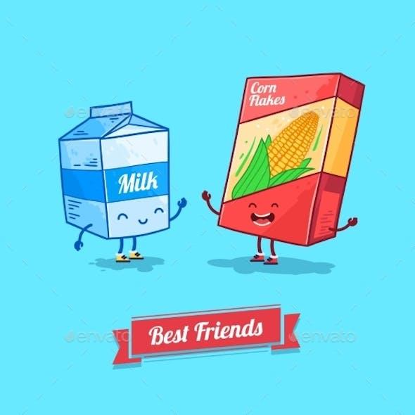 Cartoon Milk and Cereal