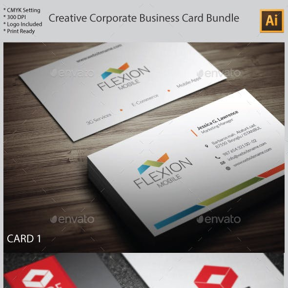 3 in 1 Creative Corporate Business Card Bundle